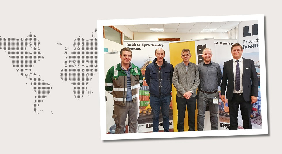 1. Ireland Dr. Juri Rosen, Kevin Kroh and Thorsten Bösch visiting Liebherr Container Cranes Ltd. in November 2019. Also in the picture (from the left): Dan O'Connor and Garvin Cronin
