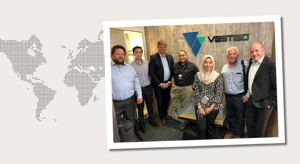 6. Malaysia At Vestigo Petroleum in Kuala Lumpur in August 2019. Outside: Nils Schmidt and Michael Bick. From the left: Erik Larsson and Dr. Benjamin Chapman, NOV, Ir Muammar Gadafi Othman, Mas Nazli Aziah Mohd Adnan, Vestigo Petroleum, and Charlie Hughes of Cortez Subsea Ltd.