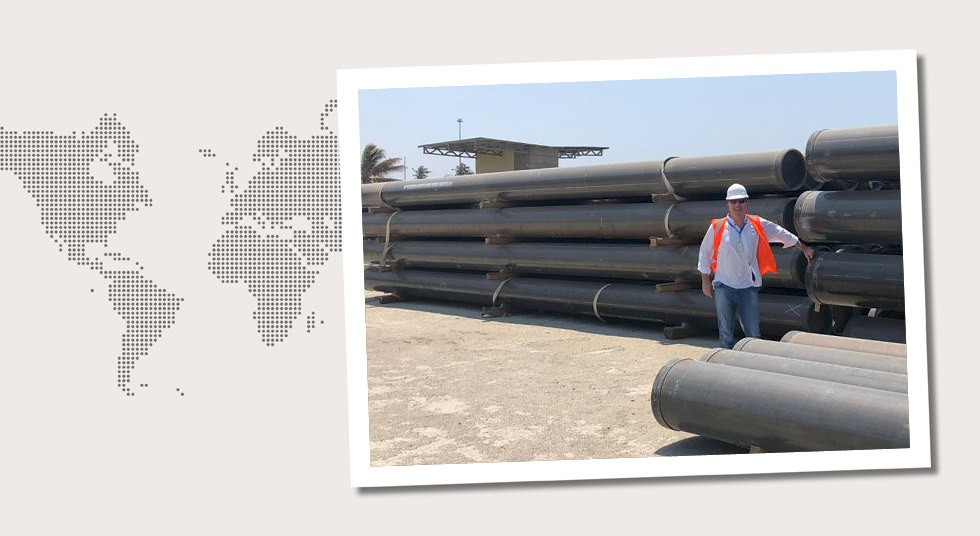 5. Colombia Michael Kosfeld inspecting delivered pipes in Barranquilla in March 2019.