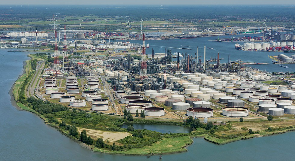The port of Antwerp is a cornerstone of the petrochemical industry in Europe.